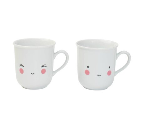 A Little Lovely Company Theekopjes Thirst-tea Fun wit porselein set van twee 9,5x8x7,5cm