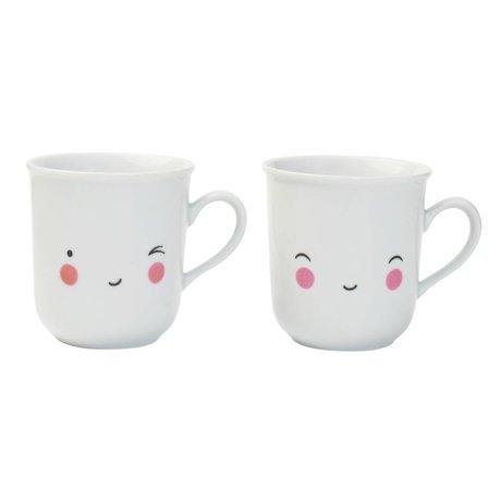 A Little Lovely Company Theekopjes Thirst-tea Happy wit porselein set van twee 9,5x8x7,5cm