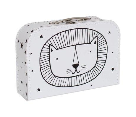 A Little Lovely Company Kinderkoffer Lion wit zwart karton 30x20,5x9cm