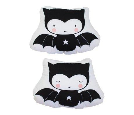 A Little Lovely Company Cushion bat white black cotton 34x23,5x9cm