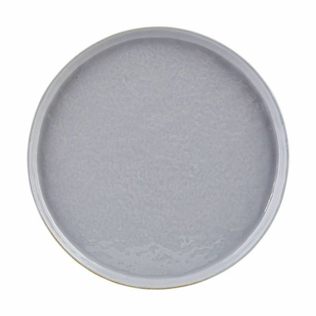 Housedoctor Diner bord Solid grijs/blauw aardewerk ø22x2cm