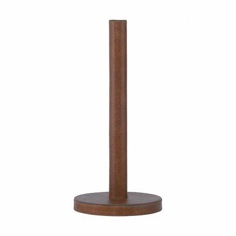 Housedoctor Keukenrolhouder Skin bruin hout leer ø14x30.8cm