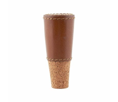 Housedoctor Bouchon de vin en cuir peau liège brun ø1,7 / 3x8cm
