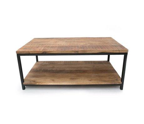 LEF collections Schade salontafel Industrieel bruin zwart hout metaal 110x60x46cm