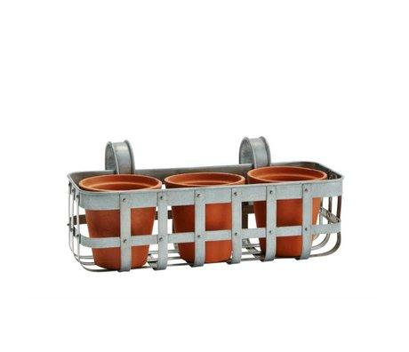 Madam Stoltz Flower box balcony gray zinc 35x15x14cm with 3 terracotta pots