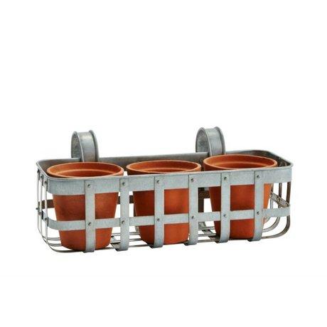 Madam Stoltz Planteur balcon zinc gris 35x15x14cm 3 pots en terre cuite