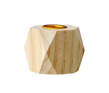 Bloomingville Kaarsenhouder bruin hout 3x3x3cm