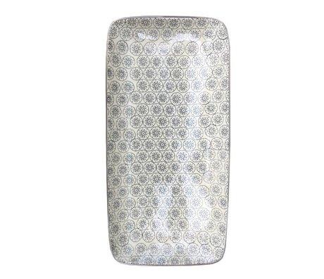 Bloomingville Bord Isabella grijs wit aardewerk 30x15cm