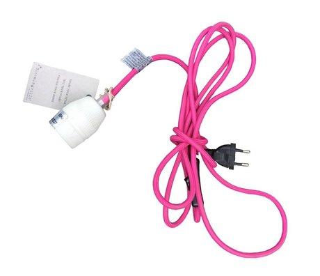 Bloomingville Snoer met fitting E27 wit roze stof 300x5x5cm