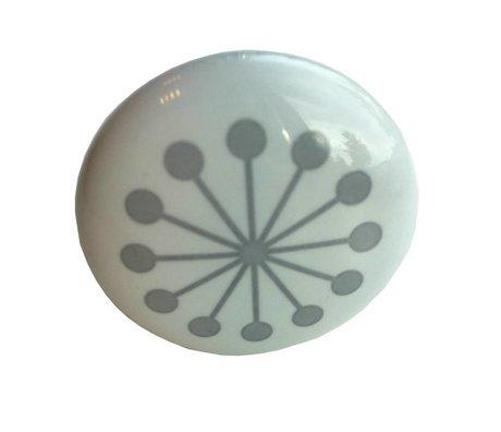 Bloomingville Doorknob weiß grau Kunststoff Ø4x6cm