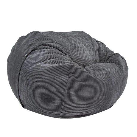 Vetsak Cordon Beanbag velours noir à double velours côtelée Ø140x90cm 1000Liter