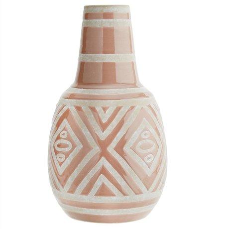 Madam Stoltz Vase blassrosa weiße Keramik Ø20x34cm