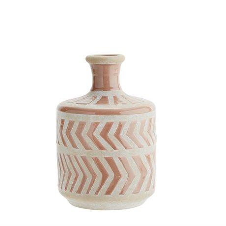 Madam Stoltz Vaas dusty roze wit keramiek Ø16x24cm