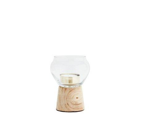 Madam Stoltz Waxinelichthouder transparant glas hout 9x12cm