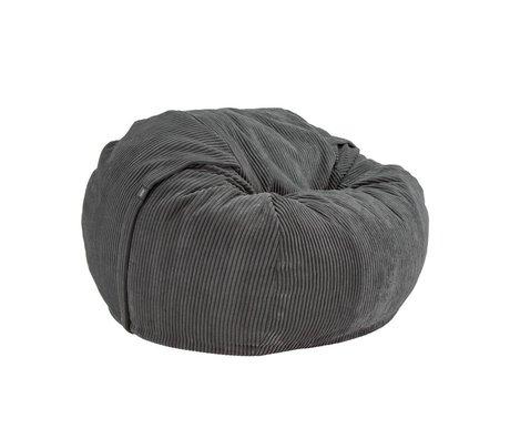 Vetsak Beanbag Cord Velour einzigen dunkelgrau gerippten velvet Ø110x70cm 600 Liter