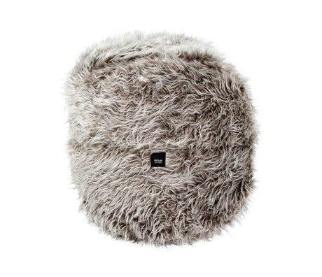 Vetsak Footstool Flokati gray polyester Ø60x60 100 liters