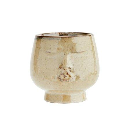 Madam Stoltz Bloempot Face bruin aardewerk 14,5x14cm