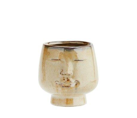 Madam Stoltz Flowerpot visage poterie brune 12x11,5cm