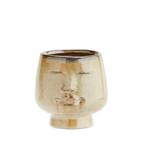 Madam Stoltz Bloempot Face bruin aardewerk 12x11,5cm