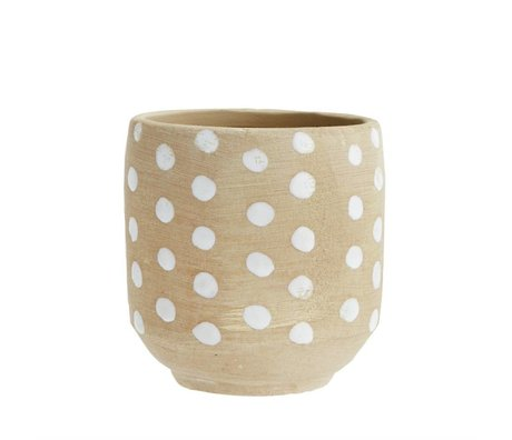 Madam Stoltz Flowerpot Dots antikbraun weiß Terrakotta 13x13cm