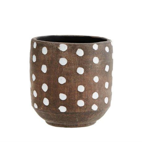 Madam Stoltz Flowerpot Dots dunkelbraun weiß Terrakotta 13x13cm