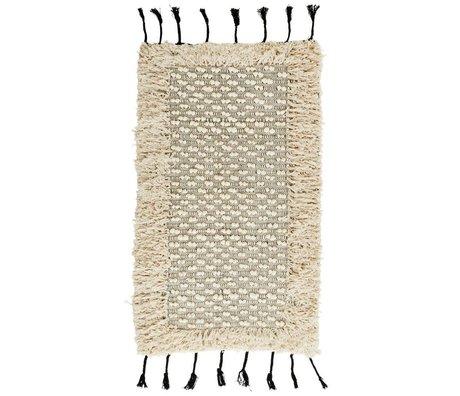 Madam Stoltz Vloerkleed Pompom Fringes wit zwart katoen 70x120cm