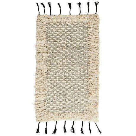 Madam Stoltz Pompom Teppich Fringes weiße Baumwolle 70x120cm