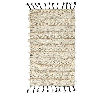 Madam Stoltz Teppich Quasten weiße Baumwolle 70x120cm