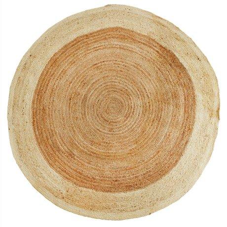 Madam Stoltz Floor cover around natural brown white jute Ø180cm