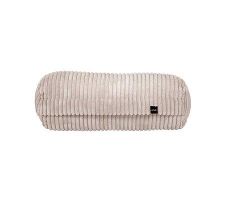 Vetsak Cushion Noodle Cord Velours Beige Ribbed Velvet 42xØ16cm