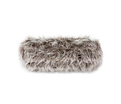 Vetsak Kussen Noodle Flokati grijs polyester 42xØ16cm