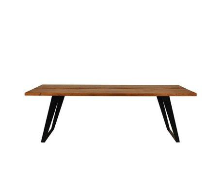 LEF collections Table en bois brun Temba 230x90x78cm métallique noir
