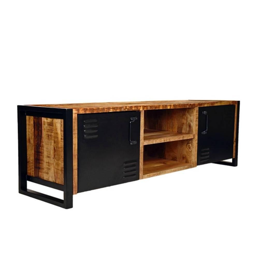 tv st nder br ssel braun schwarz holz metall 160x45x50cm wonen met lef. Black Bedroom Furniture Sets. Home Design Ideas