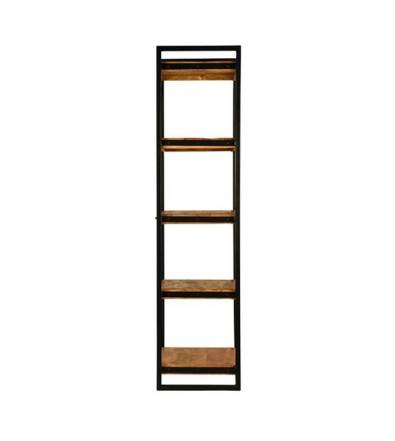 Lef collections boekenkast brussel bruin zwart hout metaal 80x45x185cm - Boekenkast hout en ijzer ...