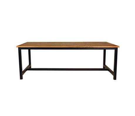 LEF collections Dining table brown brown black wood metal in 2 sizes