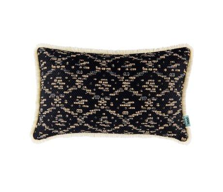 POM Amsterdam Cushion Woven Ikat black textile 30x50cm