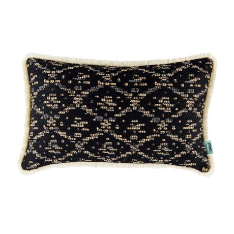 POM Amsterdam Coussin Ikat tissé tissu noir 30x50cm