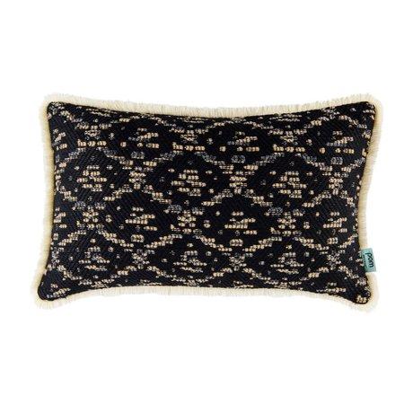 POM Amsterdam Sierkussen Woven Ikat zwart textiel 30x50cm