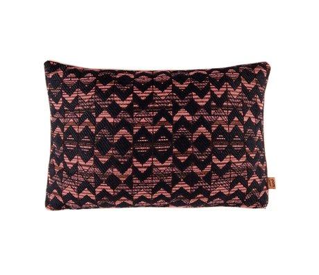 POM Amsterdam Coussin tissé corail géométrique 40x60cm textile noir