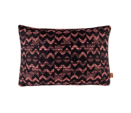 POM Amsterdam Cushion Woven Geometric Coral Black Textile 40x60cm