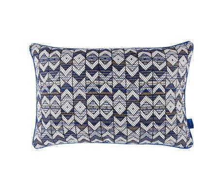 POM Amsterdam Cushion Woven Geometric blue black textile 40x60cm