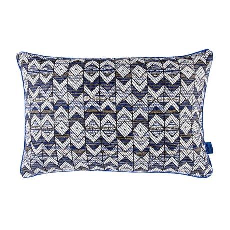 POM Amsterdam Coussin tissé géométrique 40x60cm textile bleu noir