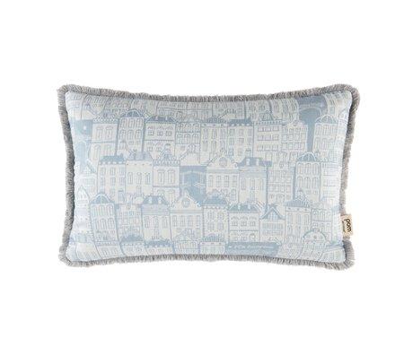 POM Amsterdam Sierkussen Woven Canalhouses Day licht blauw ecru textiel 30x50cm