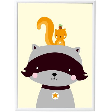 A Little Lovely Company Poster Racoon & Co paper 50x70cm