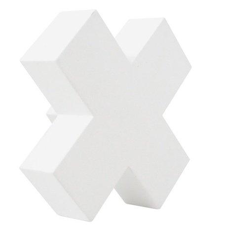 HK-living Kapstok haak Cross S wit hout 6x6x3cm