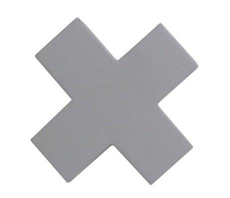 HK-living Kapstok haak Cross M grijs hout 9x9x3,5cm