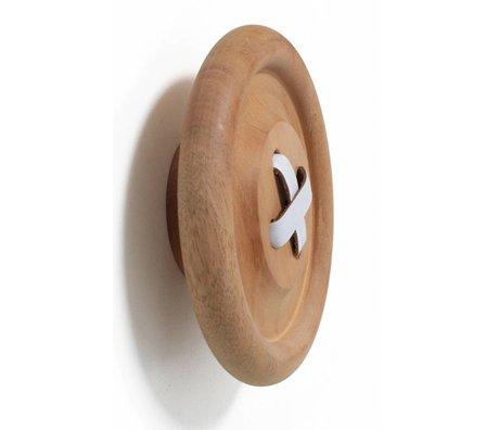 HK-living Haak knoop L bruin naturel hout Ø18cm