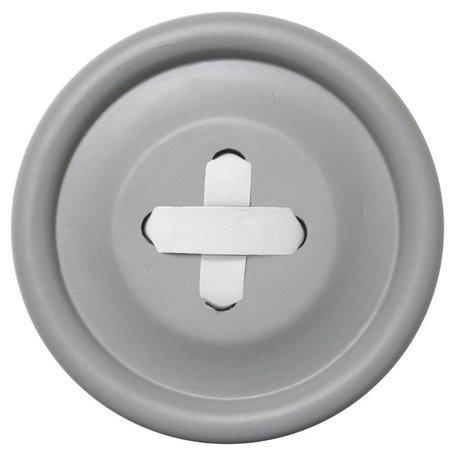 HK-living Haak Knoop M grijs hout, witte steek Ø13cm