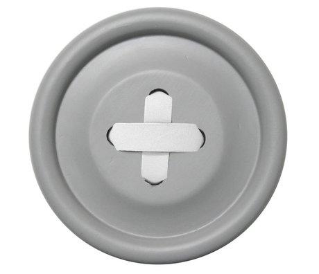 HK-living Haak Knoop grijs hout, witte steek Ø18cm