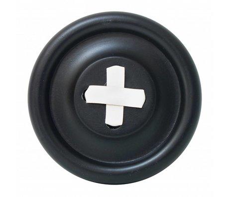 HK-living Haak Knoop zwart hout, witte steek Ø13cm
